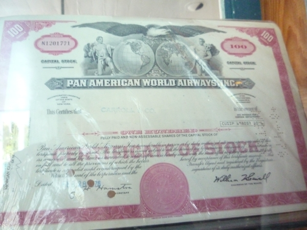 100 Shares of Pan Am Stock