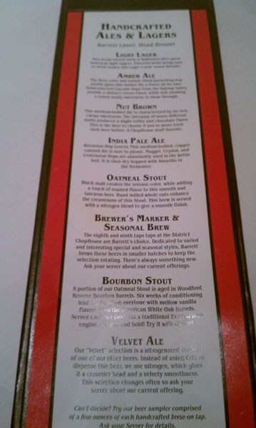 Chop House Beer Menu