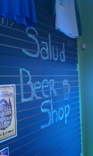 Salud Beer Shop sign