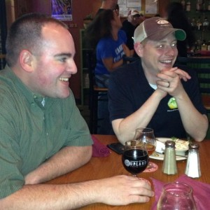 Chris and Jared enjoying a Stout at Holler